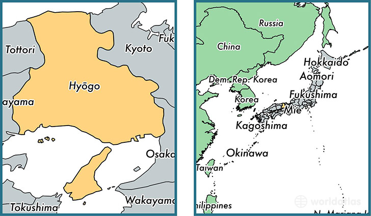 Location of prefecture of Hyogo on a map