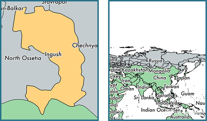 Location of republic of Ingushetia on a map