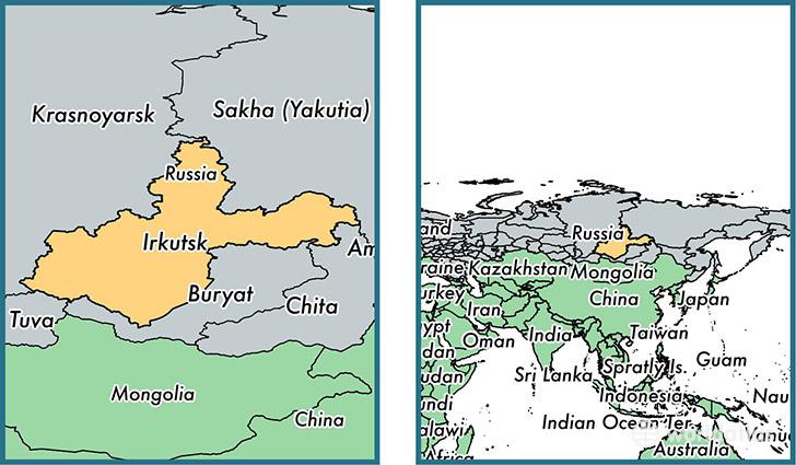 Irkutsk Oblast administrative region, Russia / Map of Irkutsk