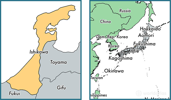 Location of prefecture of Ishikawa on a map