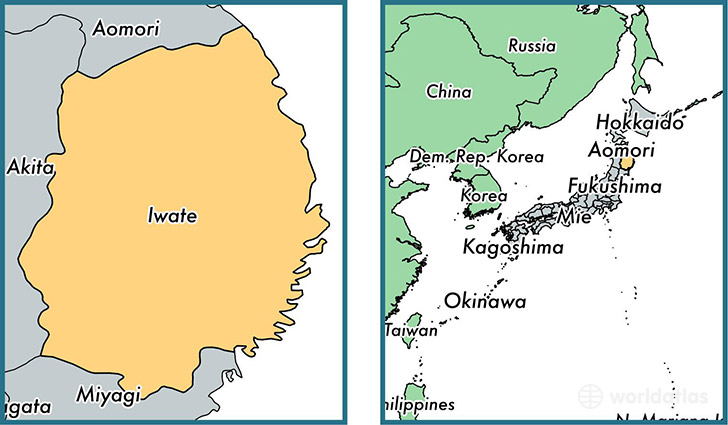 Location of prefecture of Iwate on a map