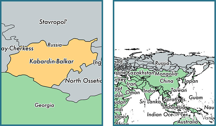 Location of republic of Kabardino-Balkaria on a map