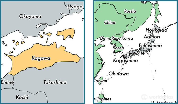Location of prefecture of Kagawa on a map