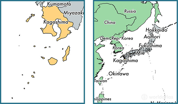 Location of prefecture of Kagoshima on a map