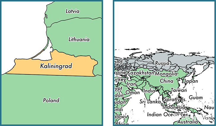 Location of administrative region of Kaliningrad Oblast on a map