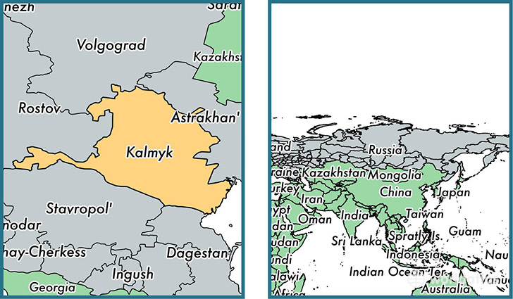 Location of republic of Kalmykia on a map