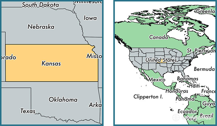 Location of state of Kansas on a map