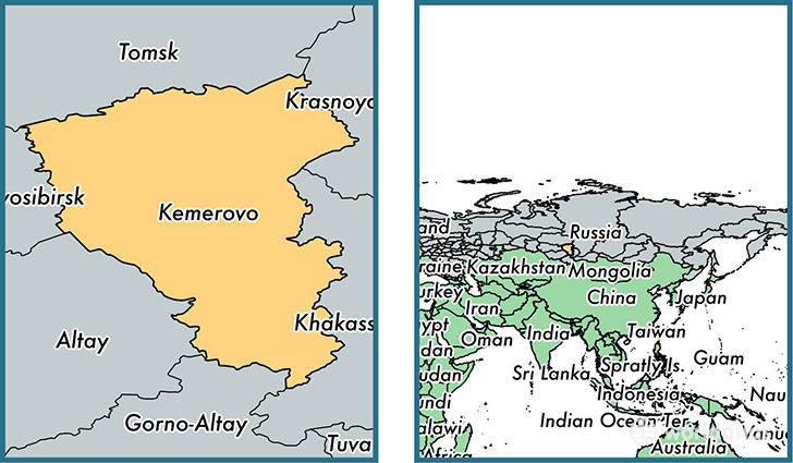 Location of administrative region of Kemerovo Oblast on a map