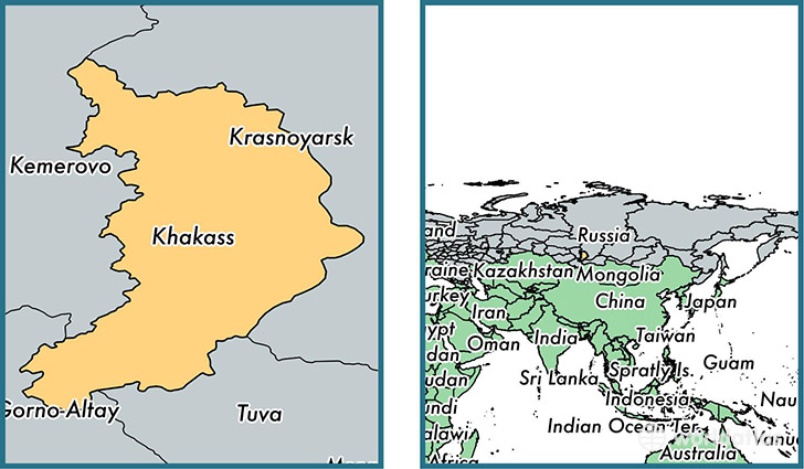 Location of republic of Khakassia on a map