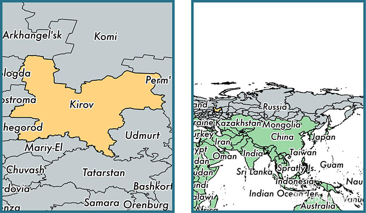 Location of administrative region of Kirov oblast on a map
