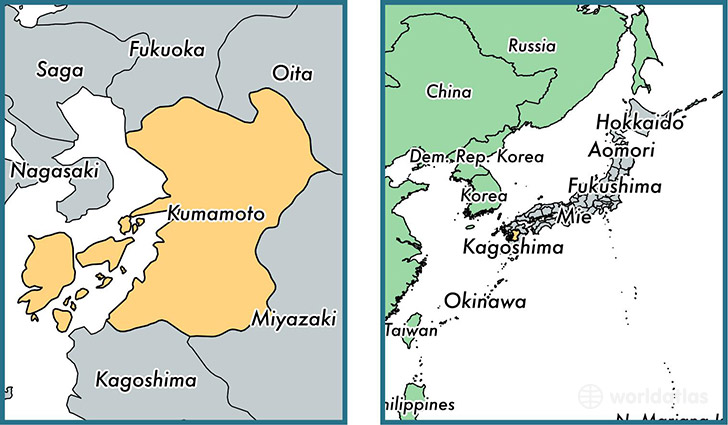 Location of prefecture of Kumamoto on a map