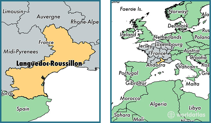 Location of metropolitan region of Languedoc-Roussillon on a map