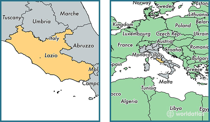 Location of region of Lazio on a map