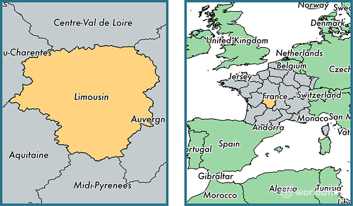 Location of metropolitan region of Limousin on a map