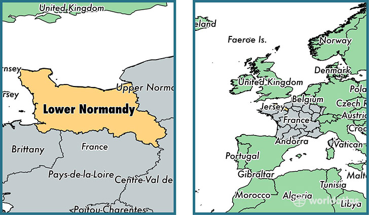 Location of metropolitan region of Lower Normandy on a map