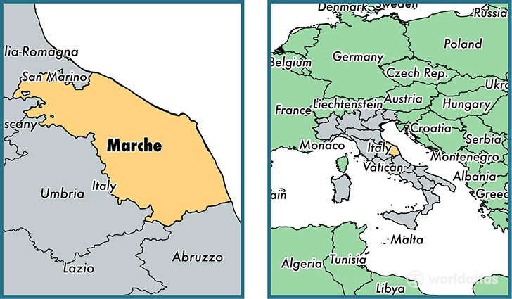 Location of region of Marche on a map