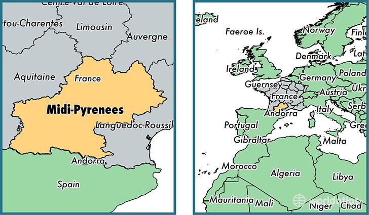 Where is MidiPyrenees metropolitan region Where is MidiPyrenees