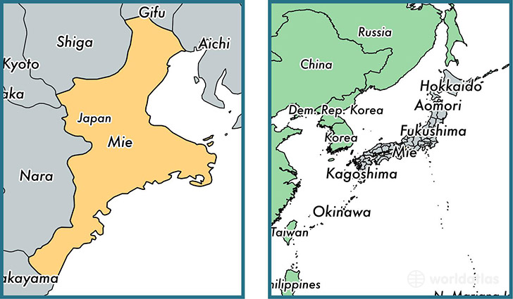 Location of prefecture of Mie on a map