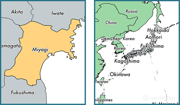Location of prefecture of Miyagi on a map