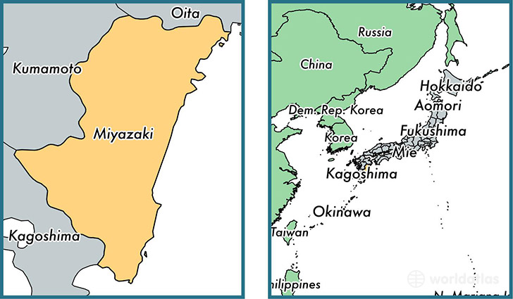 Location of prefecture of Miyazaki on a map