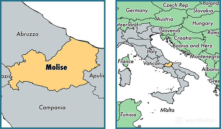 Location of region of Molise on a map