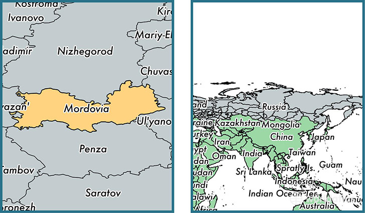 Location of republic of Mordovia on a map