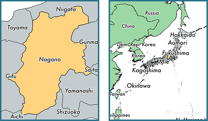 Location of prefecture of Nagano on a map