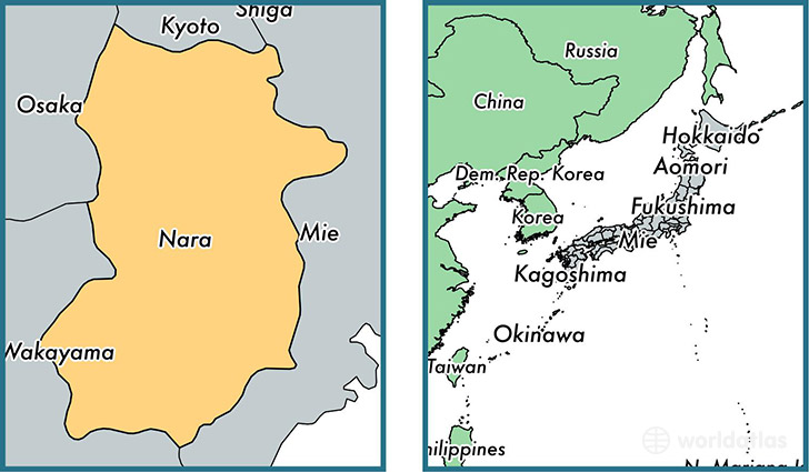 Location of prefecture of Nara on a map