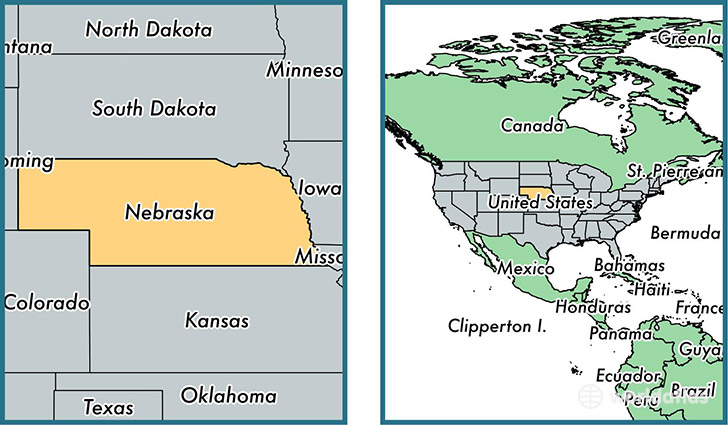 location of state of nebraska on a map