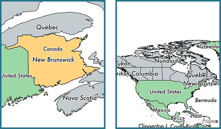 Location of province of New Brunswick on a map