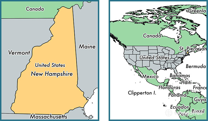 Location of state of New Hampshire on a map