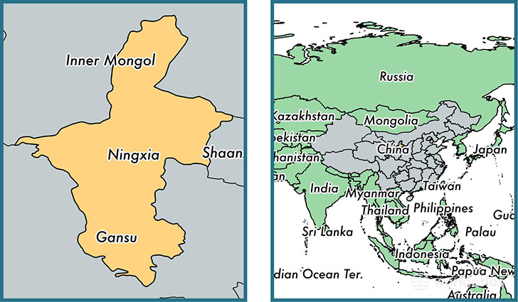 Location of autonomous region of Ningxia on a map
