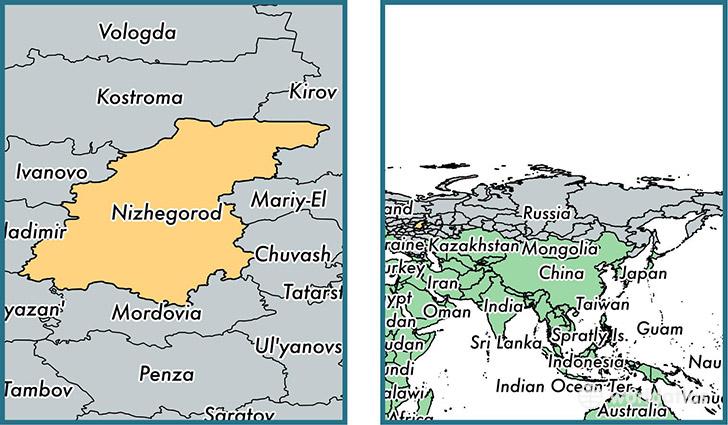 Novgorod Russia Map.Nizhny Novgorod Oblast Administrative Region Russia Map Of Nizhny