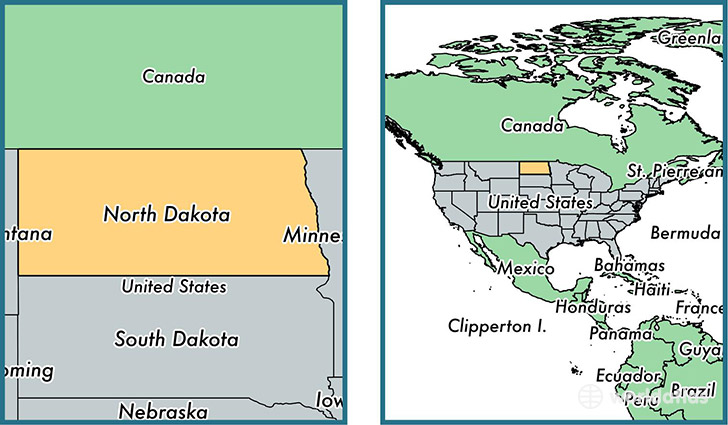 Location of state of North Dakota on a map