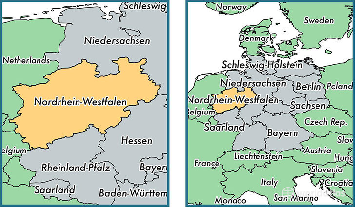 North RhineWestphalia State Germany Map Of North Rhine - Germany map rhine
