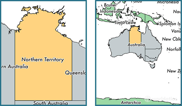 Location of territory of Northern Territory on a map
