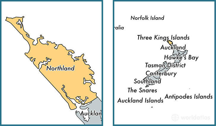 Location of regional council of Northland on a map