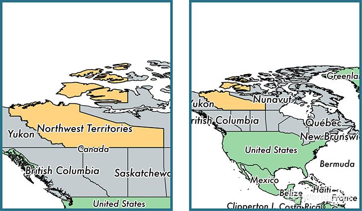 Location Of Territory Of Northwest Territories On A Map