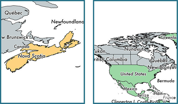 Location of province of Nova Scotia on a map