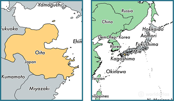Location of prefecture of Oita on a map