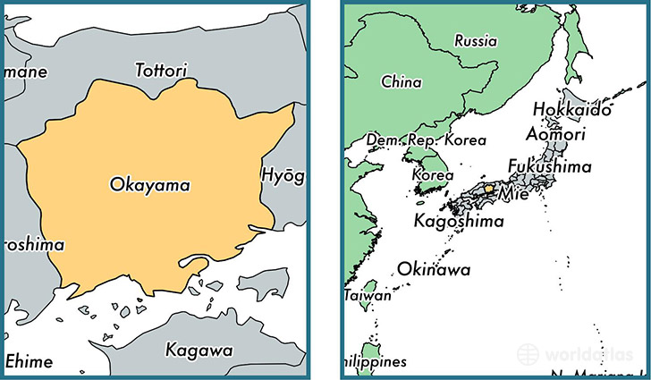 Location of prefecture of Okayama on a map