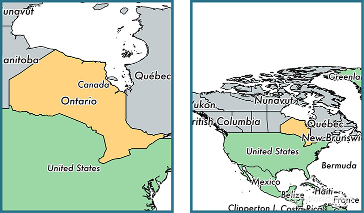 Location of province of Ontario on a map