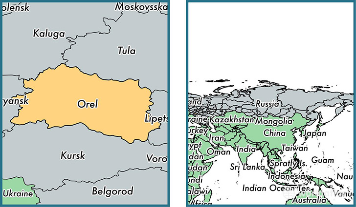 Location of administrative region of Oryol Oblast on a map