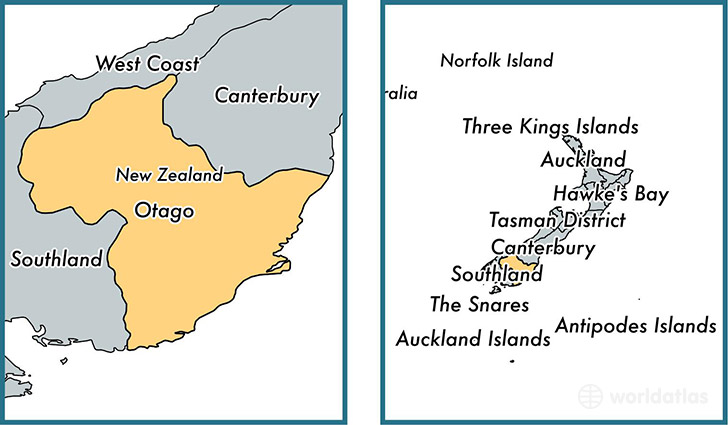 Location of regional council of Otago on a map