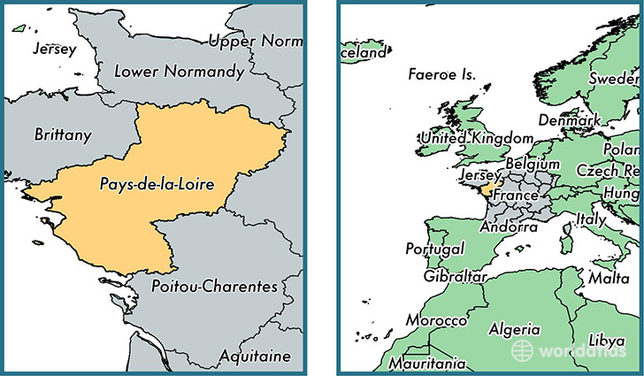Location of metropolitan region of Pays-de-la-Loire on a map