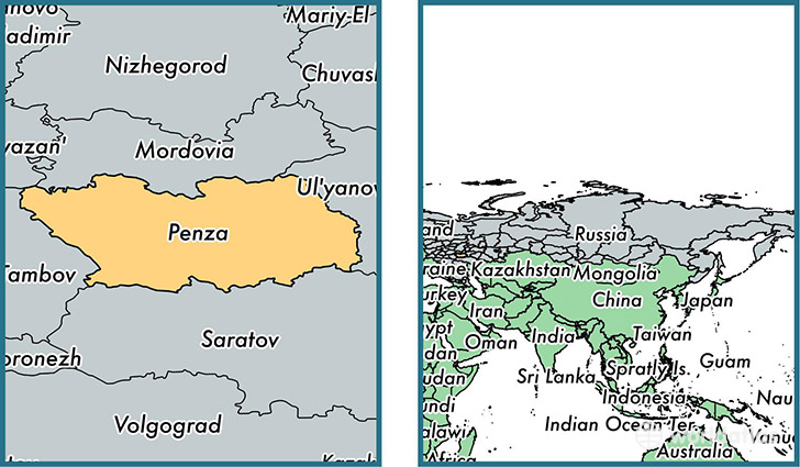 Location of administrative region of Penza Oblast on a map