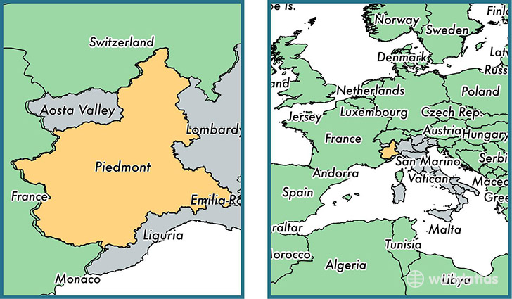 Location of region of Piedmont on a map