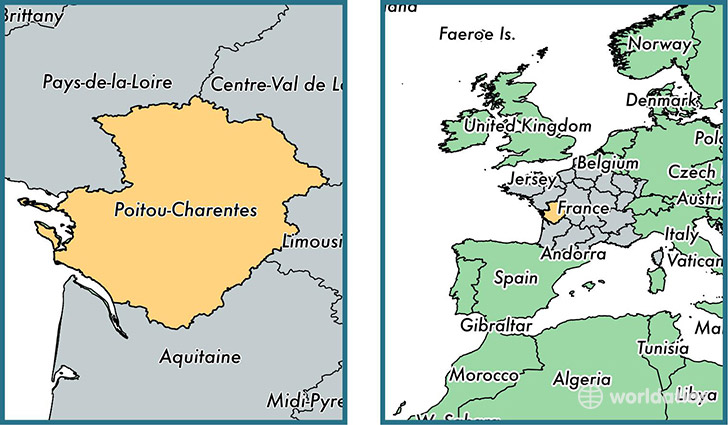 Location of metropolitan region of Poitou-Charentes on a map