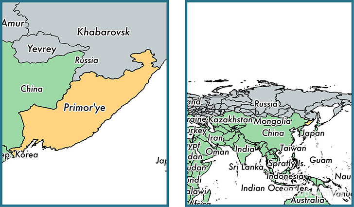 Location of administrative territory of Primorsky Krai on a map