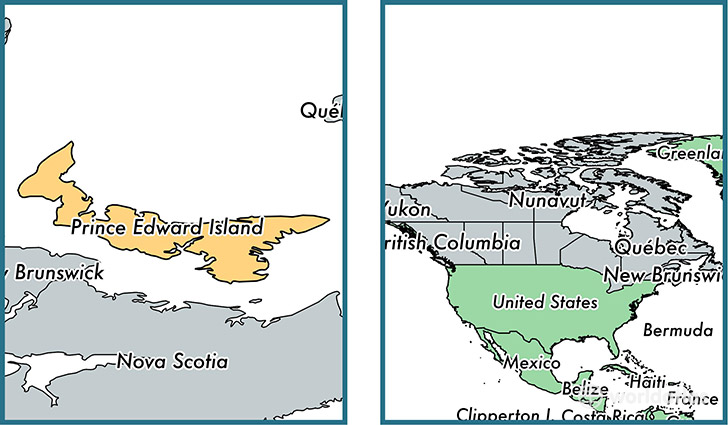Superb Location Of Province Of Prince Edward Island On A Map